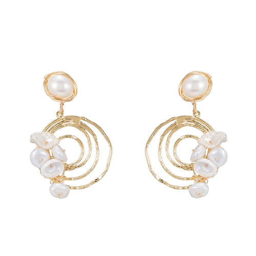 Ladies Circular Swirl Pearl Earrings in Gold Plated