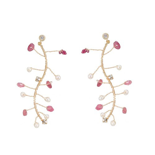 Ladies Branch Pearl Earrings with CZ in Gold Plated