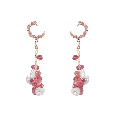 Ladies Chained Pearl with Pink Crystals Earrings in Gold Plated