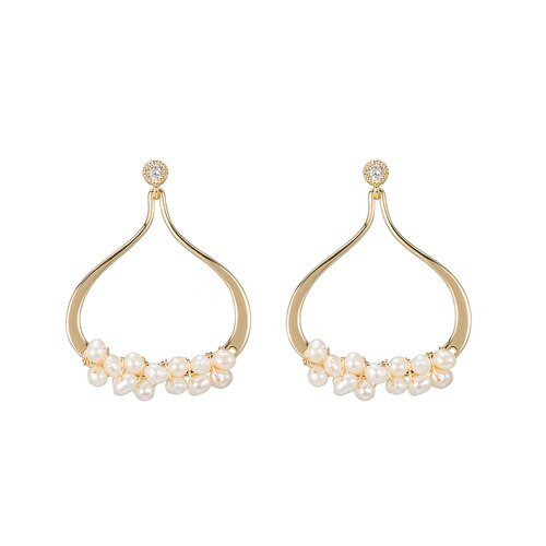 Ladies Bunch of Pearls with CZ Earrings in Gold Plated