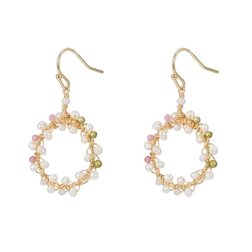 Ladies Circular Colourful Stoned Pearl Earrings in Gold Plated