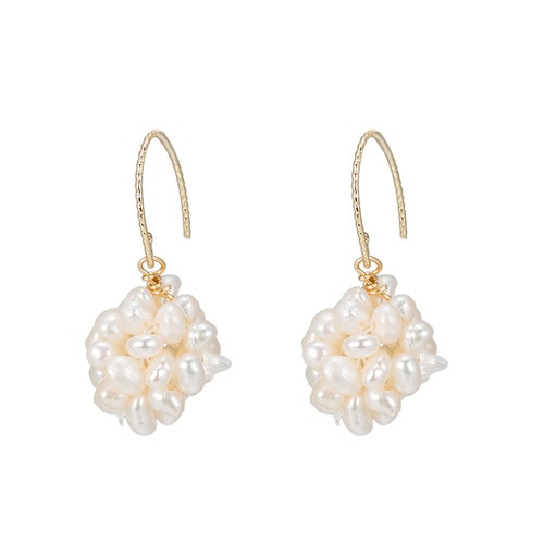 Ladies Bouquet of Freshwater Pearl Earrings in Gold Plated