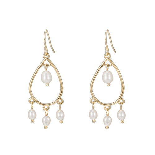 Ladies Bohemian Four Pearl Earrings in Gold Plated