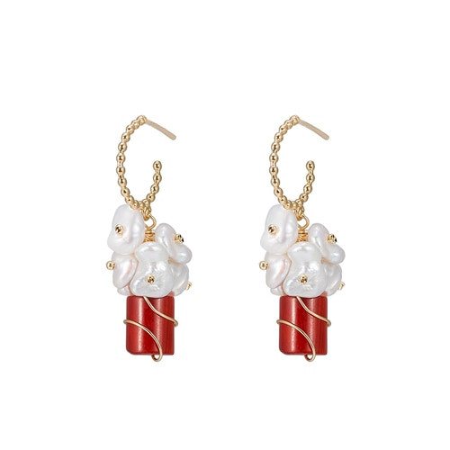 Ladies Bouquet of Ruby Pearl Earrings in Gold Plated