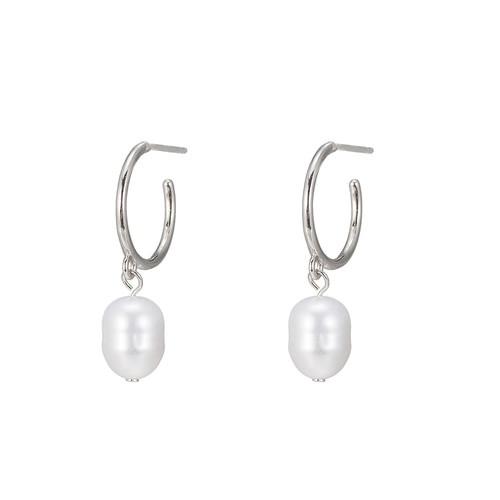 Ladies Freshwater Pearl Hoop Earring in Sterling Silver