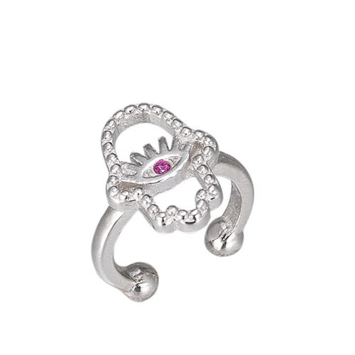 Ladies Hamsa Hand Ear cuff in Sterling Silver
