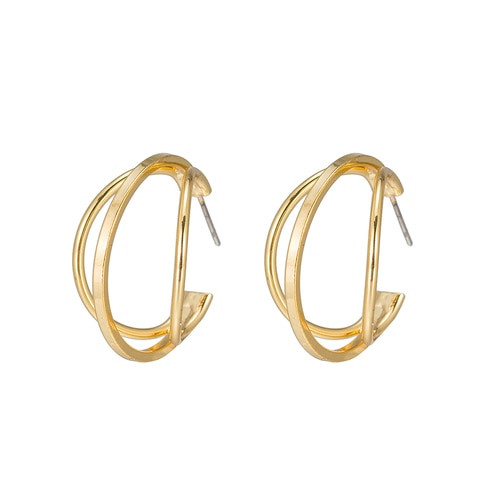 Ladies Merged Round Earrings in Gold Plated