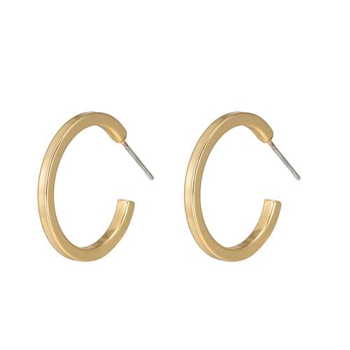 Ladies Gapped Hoop Earrings in Gold Plated