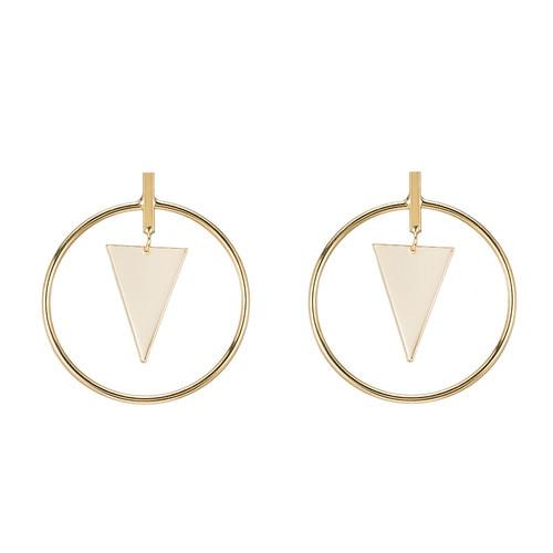 Ladies Geometric Hoop Earrings in Gold Plated