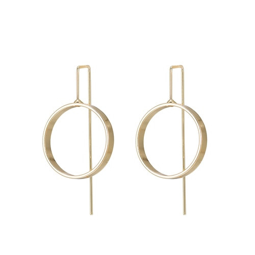 Ladies Circle Earrings in Gold Plated