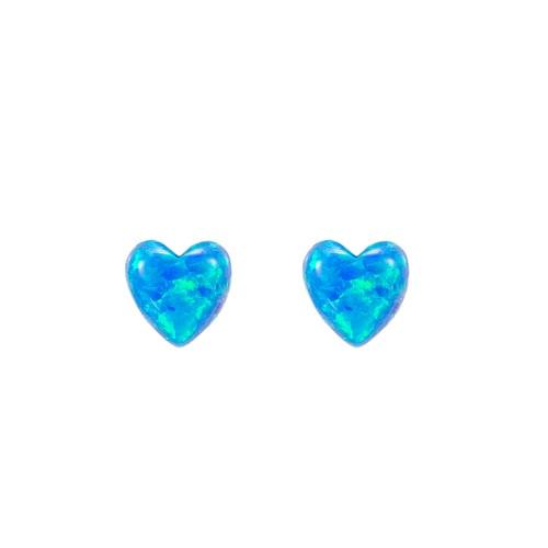 Ladies Heart Opal Stud Earring in Sterling Silver