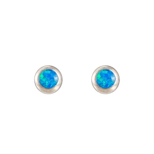 Ladies Bezel Opal Stud Earring in Sterling Silver