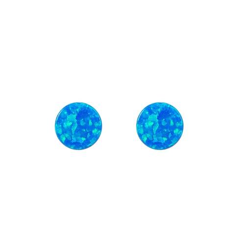 Ladies Full Round Opal Stud Earrings in Sterling Silver
