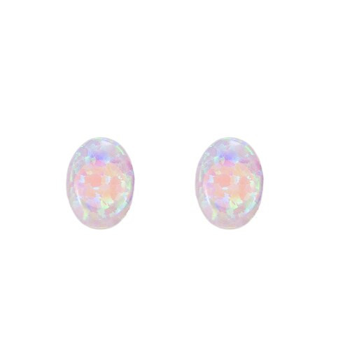 Ladies Ellipse Opal Stud Earring in Sterling Silver