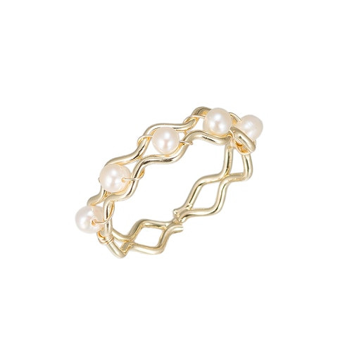 Ladies Curvy Pearls Gold Plated Ring
