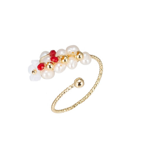 Ladies Pearl Branch Gold Plated Ring