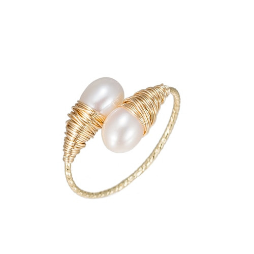 Ladies Bulb Shaped Pearl Gold Plated Ring