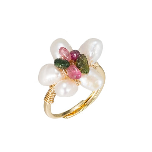 Ladies Flower Shaped Pearl Gold Plated Ring