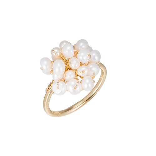 Ladies Pearl Bucket Gold Plated Ring