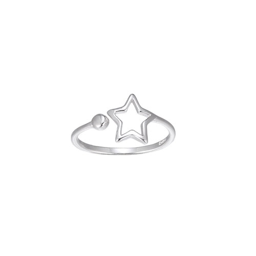 Ladies Adjustable Star Sterling Silver Ring