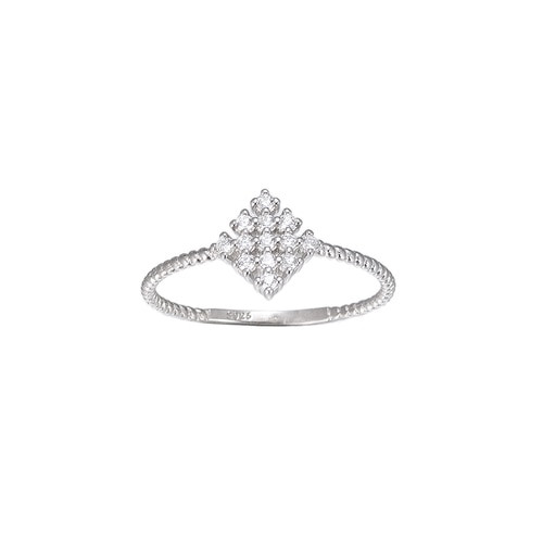 Ladies Tile CZ Sterling Silver Ring