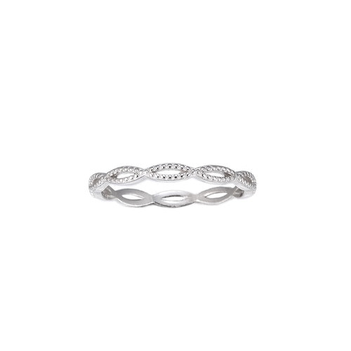 Ladies Dotted Twist Sterling Silver Ring