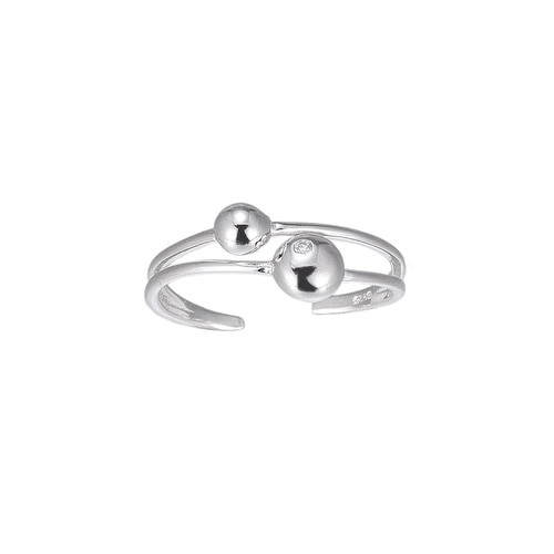 Ladies Adjustable Orbit Sterling Silver Ring