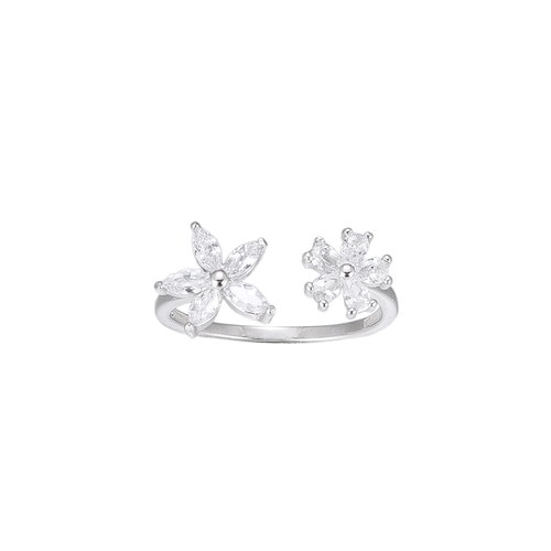 Ladies Adjustable Flower CZ Sterling Silver Ring