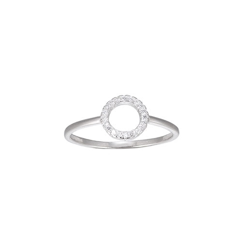 Ladies Circle Shaped CZ Sterling Silver Ring