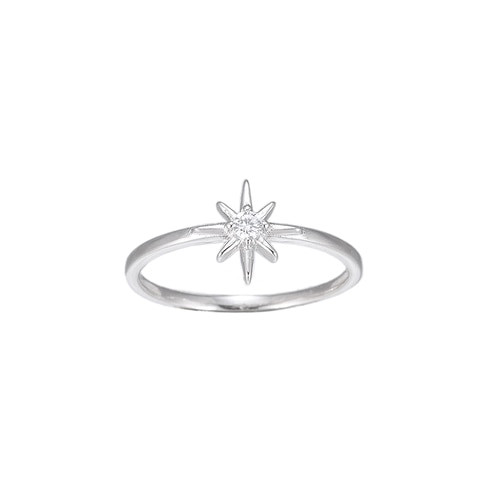 Ladies North Star Sterling Silver Ring