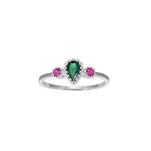 Ladies Emerald and Ruby Stone Sterling Silver Ring