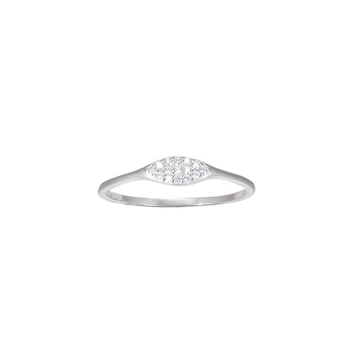 Ladies Ellipse CZ Sterling Silver Ring