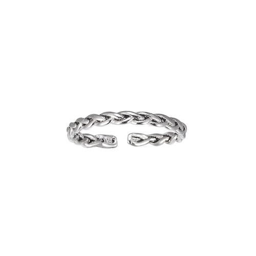 Ladies Adjustable Plait Band Sterling Silver Ring