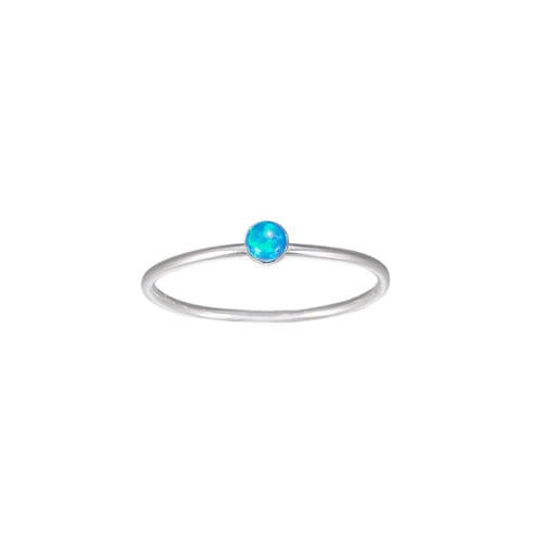 Ladies Opal Stone Sterling Silver Ring