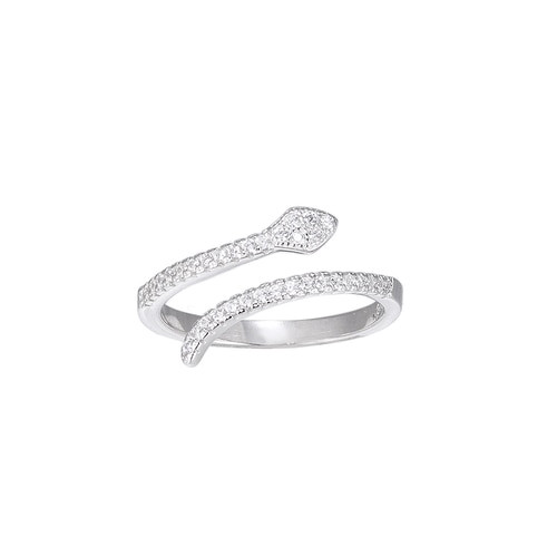 Ladies Adjustable Crystal Snake Sterling Silver Ring