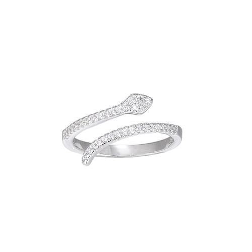 Ladies Adjustable Crystal Snake Sterling Silver Ring