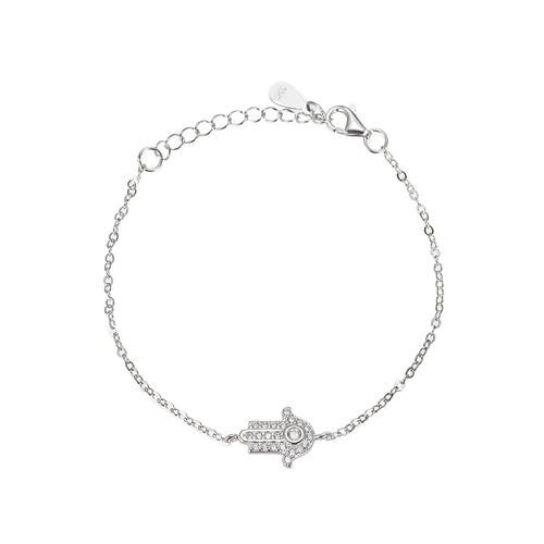 Ladies Zirconian Hamsa Hand Sterling Silver Bracelet