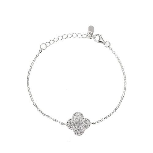 Ladies Four Clover Sterling Silver Bracelet