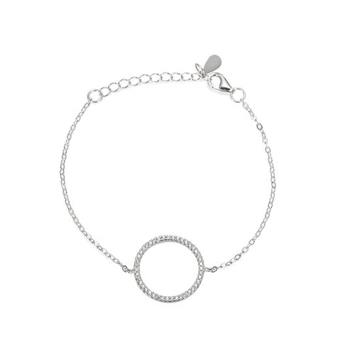 Ladies Circle Zirconia Sterling Silver Bracelet