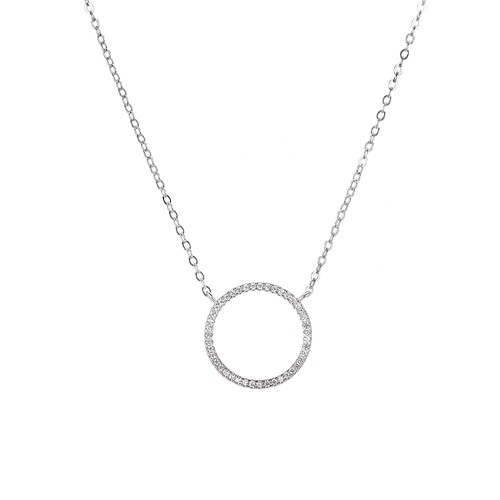 Ladies Circle with Cubic Zircon Sterling Silver Necklace