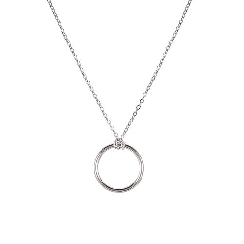 Ladies Circle Sterling Silver Necklace