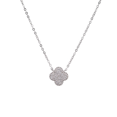 Ladies Lucky Four Clover Sterling Silver Necklace