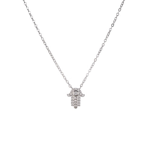 Ladies Hamsa Hand Sterling Silver Necklace