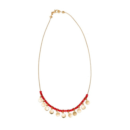 Ladies Gold Plated Flake and Crystal Necklace