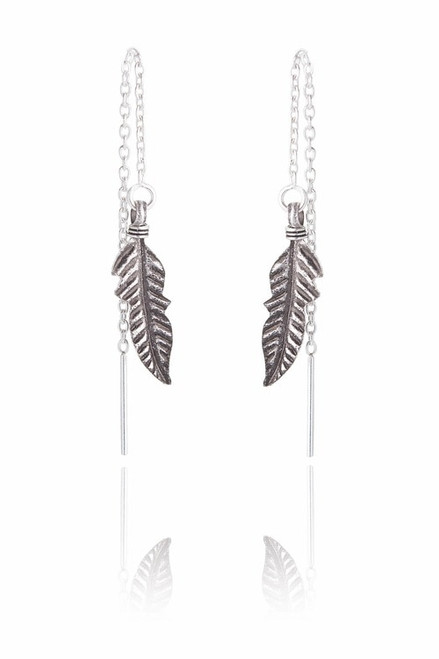 Ladies Feather with Chain Sterling Silver Earrings