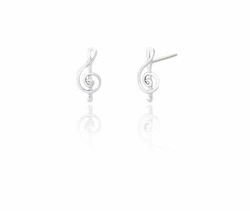 Ladies Sterling Silver Melody Stud Earrings