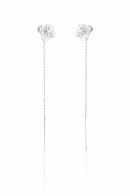 Ladies Sterling Silver Flower Chained Earrings