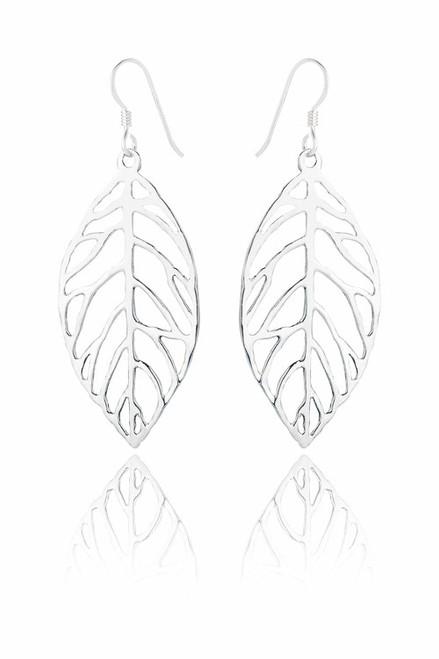 Ladies Sterling Silver Leaf Earrings