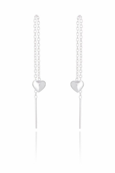 Ladies Sterling Silver Heart Chain Earring