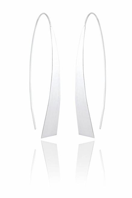 Ladies Sterling Silver Radiant Linear Earrings